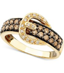 le vian chocolate diamond (3/4 ct. t.w.) and white diamond accent buckle ring in 14k gold