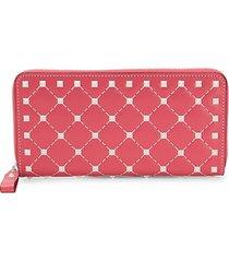studded grid leather zip-around wallet