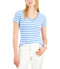 tommy hilfiger cotton striped v-neck t-shirt