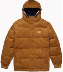 tommy hilfiger men's adaptive hooded corduroy puffer jacket cohiba brown - l