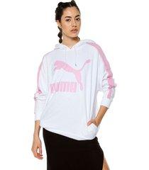 buzo blanco-rosado puma classic logo t7