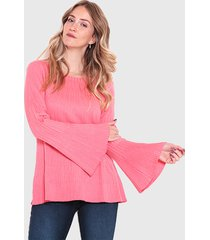 sweater wados escote redondo manga campana coral - calce regular