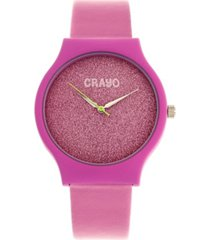 crayo unisex glitter hot pink leatherette strap watch 36mm