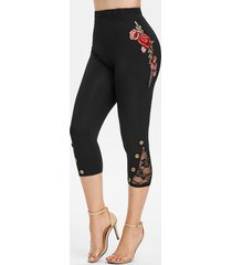 flower embroidered button embellished capri leggings
