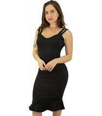 vestido racy modas peplum alcinha dupla preto