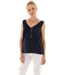 blusa sem manga com decote v tranpassado - azul marinho - feminino - dafiti