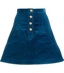 derek lam 10 crosby stretch velveteen a-line mini skirt with snaps -