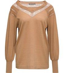 alberta ferretti camel-colored wool openwork sweater