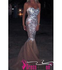 luxury mermaid sweetheart diamond beaded tulle champagne prom dress/evening gown