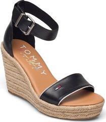 essential tommy jeans wedge sandalette med klack espadrilles svart tommy hilfiger