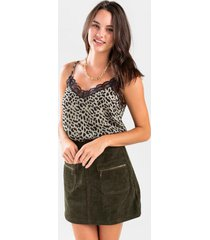 mendie printed lace trim tank top - olive