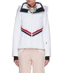 'enbleme' diagonal stripe fur trim hood ski jacket