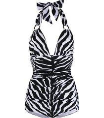 dolce & gabbana zebra-print one-piece swimsuit - white