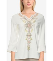alfred dunner women's missy san antonio embroidered bell sleeve top