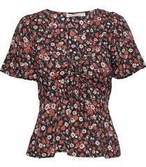 print driver tie front tee blouses short-sleeved röd abercrombie & fitch
