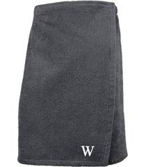 linum home 100% turkish cotton terry personalized men's bath wrap - dark grey bedding
