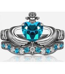 0.1ctw topaz & simulated diamond 14k white gold fn heart wedding bridal ring set