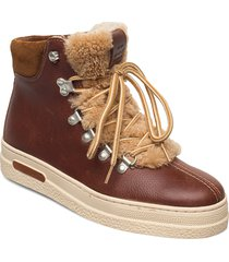 breonna mid lace boot shoes boots ankle boots ankle boot - flat brun gant