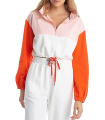 juicy couture women's colorblock cropped popover jacket - size s