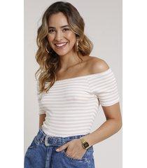 blusa feminina básica listrada ombro a ombro canelada manga curta bege claro