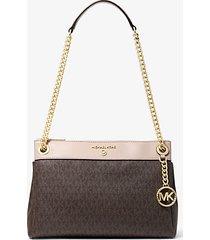 mk borsa a spalla susan convertibile piccola con logo - marrone/rosa tenue (marrone) - michael kors