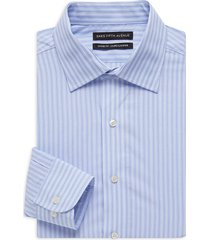 saks fifth avenue men's classic-fit striped shirt - blue - size 17.5 36-37
