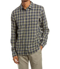 men's vans alameda ii slim fit check flannel button-up shirt, size small - blue