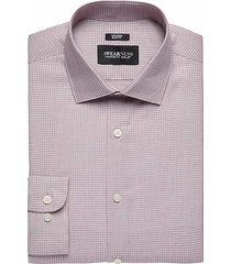 awearness kenneth cole men's burgundy red check slim fit dress shirt - size: 19 34/35
