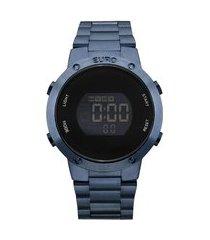 kit de relógio feminino euro digital - eubj3279ack4a + lentes azul