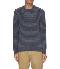 double stripe crewneck cashmere sweater