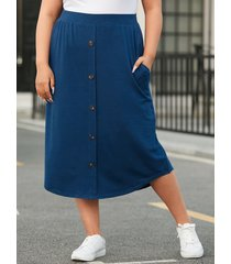 falda con diseño de botones y bolsillos laterales de talla grande yoins