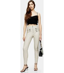 taupe skinny faux leather pants - taupe