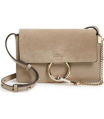 chloe small faye leather crossbody bag - grey