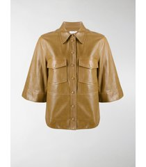 ganni faux-leather button-up shirt