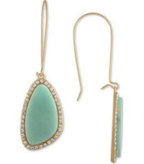 rachel rachel roy gold-tone blue stone drop earrings