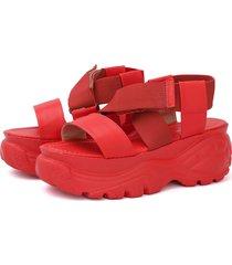 sandália feminina not-me búfalo chunky papete manu vermelha - tricae