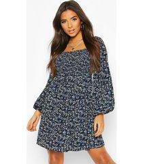 floral print square neck shirred top smock dress, navy