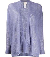 alysi semi-sheer open front cardigan - purple