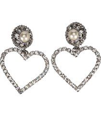 alessandra rich crystal heart clip on earrings with pearl