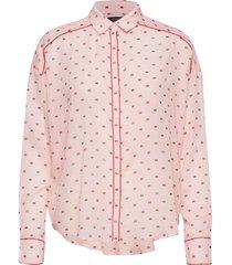 boxy fit allover printed viscose mix shirt overhemd met lange mouwen roze scotch & soda