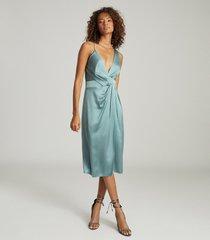 reiss charlie - satin twist-front midi dress in pale blue, womens, size 14