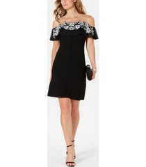 msk petite illusion off-the-shoulder dress