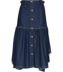 chloé ruffled frayed denim skirt - blue