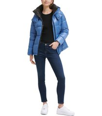 kenneth cole shine hooded puffer coat
