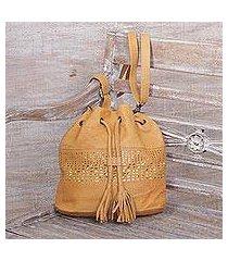 leather bucket bag, 'shimmering honey' (indonesia)