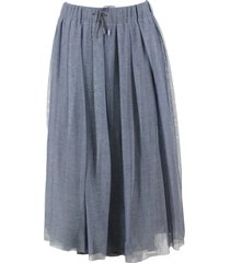 fabiana filippi flared skirt with drawstring waist in denim tulle