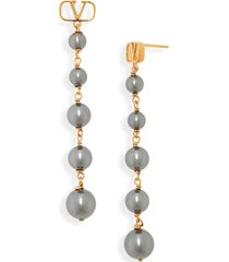 women's valentino vlogo imitation pearl linear drop earrings
