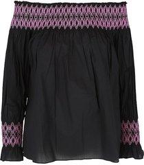 maje women's smocked off-the-shoulder top - black - size 2 (m)