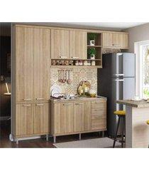 cozinha compacta completa multimã³veis com 4 peã§as sicãlia 5840 argila/argila - bege/incolor - dafiti