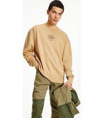 tommy hilfiger organic cotton tonal sweatshirt classic khaki - xxl